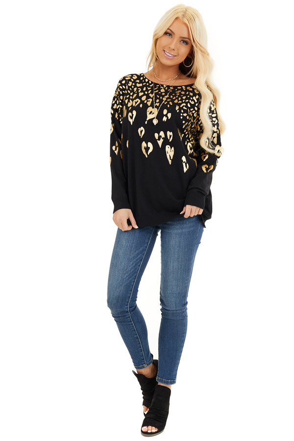 Black Long Sleeve Knit Top with Gold Leopard Print Hearts front full body