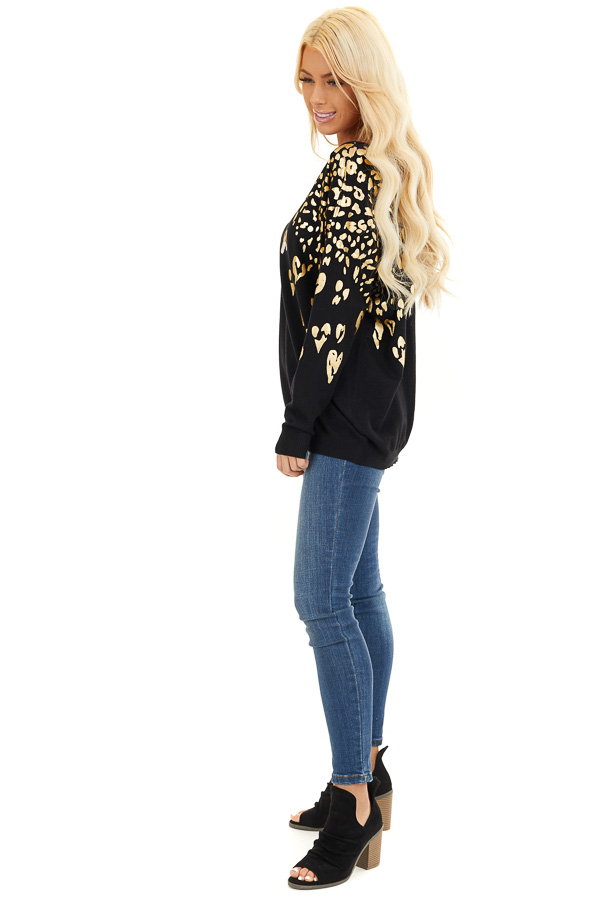 Black Long Sleeve Knit Top with Gold Leopard Print Hearts side full body