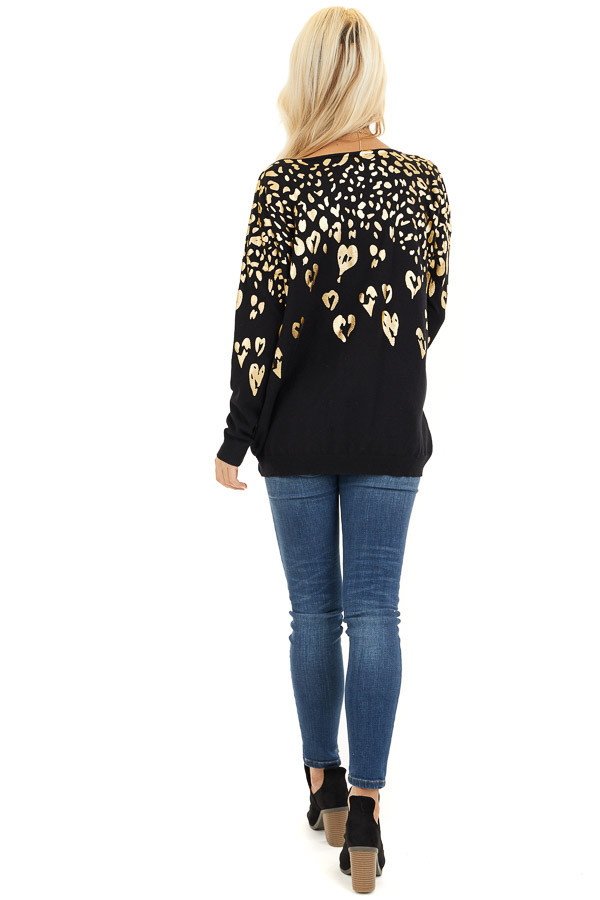 Black Long Sleeve Knit Top with Gold Leopard Print Hearts back full body
