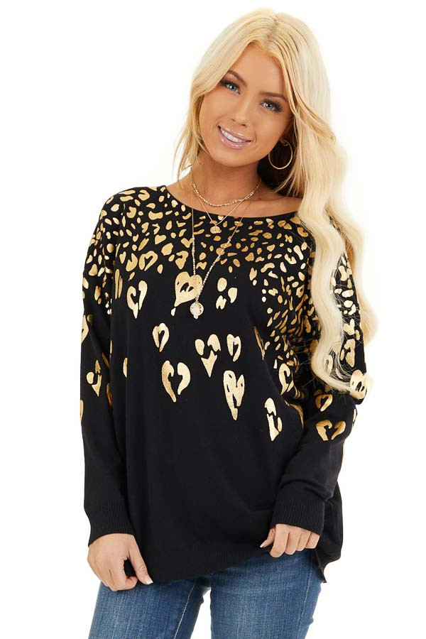Black Long Sleeve Knit Top with Gold Leopard Print Hearts front close up