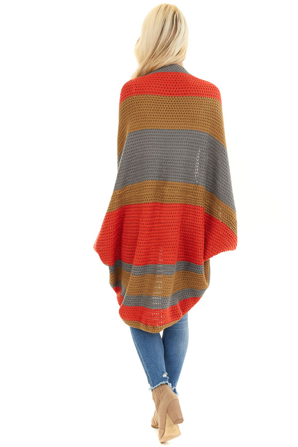 Faded Tomato Striped Cardigan with Short Batwing Sleeves back full body