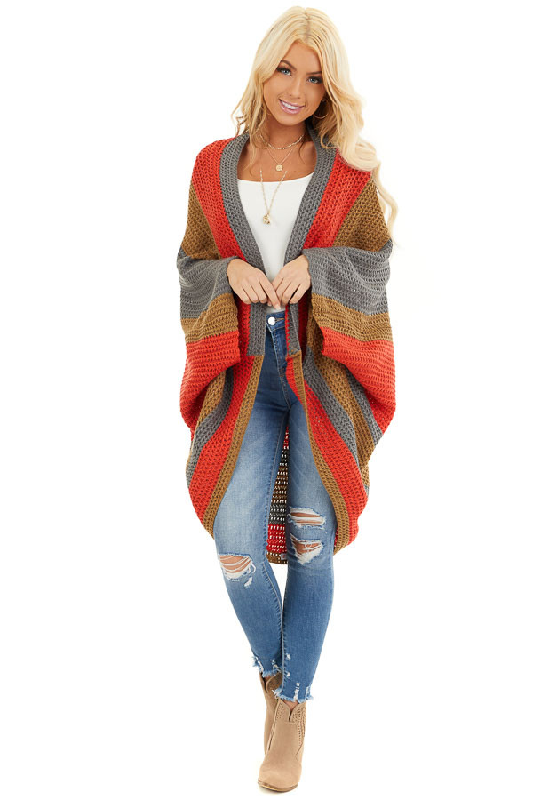 Faded Tomato Striped Cardigan with Short Batwing Sleeves front full body