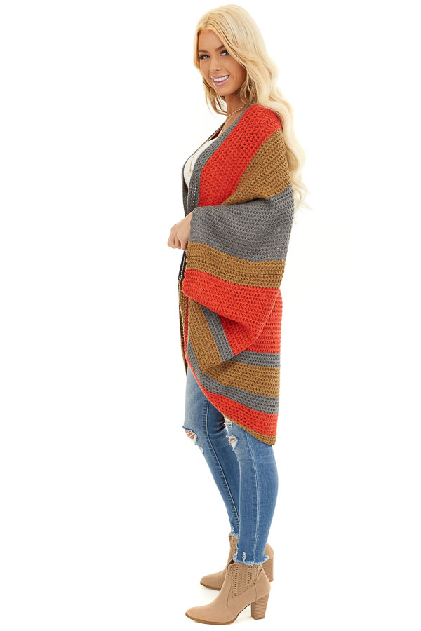 Faded Tomato Striped Cardigan with Short Batwing Sleeves side full body