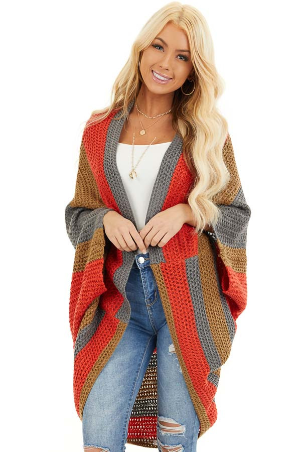 Faded Tomato Striped Cardigan with Short Batwing Sleeves front close up