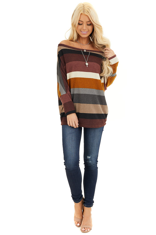 Burgundy Multi Colored Striped Off Shoulder Dolman Knit Top front full body