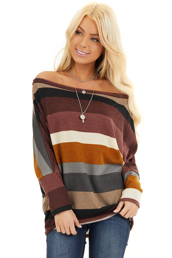 Burgundy Multi Colored Striped Off Shoulder Dolman Knit Top front close up