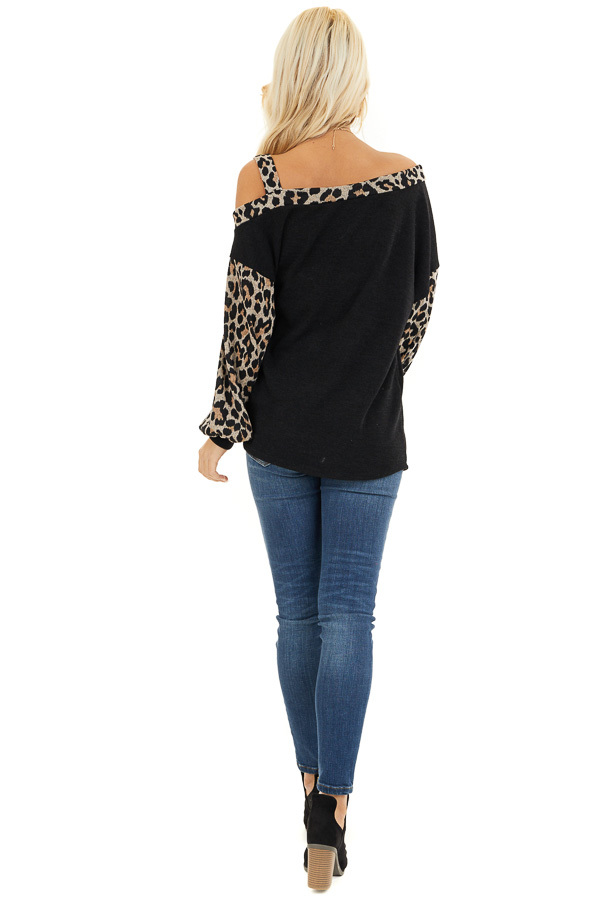 Black Leopard Print Long Sleeve Top with One Cold Shoulder back full body