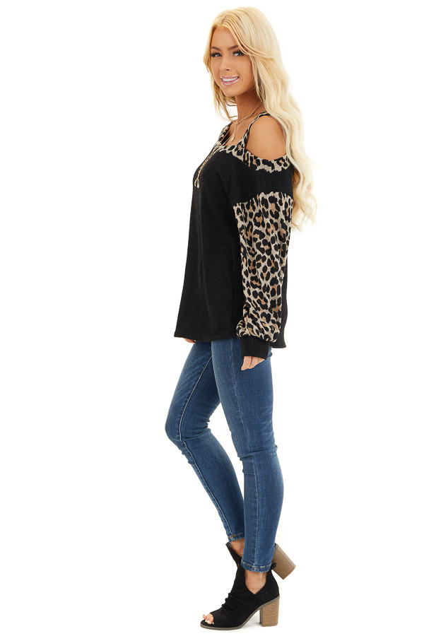 Black Leopard Print Long Sleeve Top with One Cold Shoulder side full body