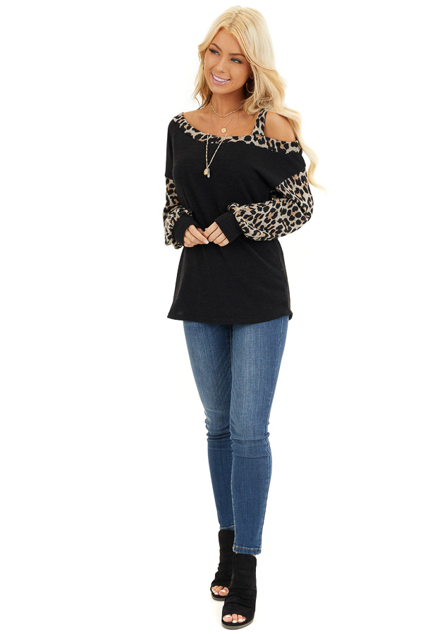 Black Leopard Print Long Sleeve Top with One Cold Shoulder front full body