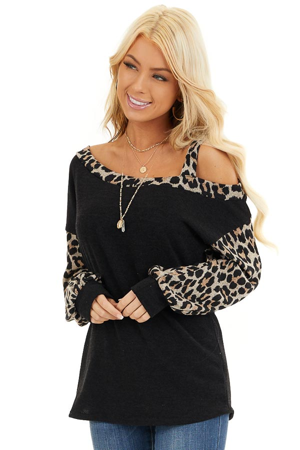 Black Leopard Print Long Sleeve Top with One Cold Shoulder front close up