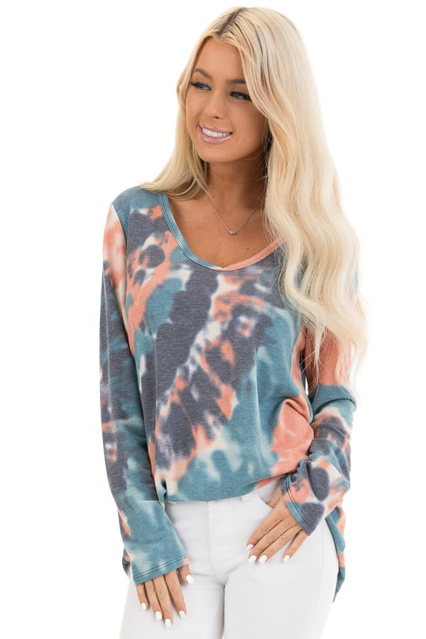 Teal Blue Multi Colored Tie Dye Long Sleeve Knit Top front close up
