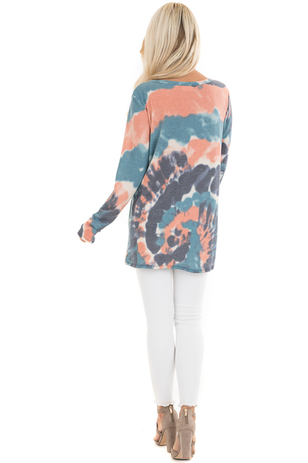 Teal Blue Multi Colored Tie Dye Long Sleeve Knit Top back full body