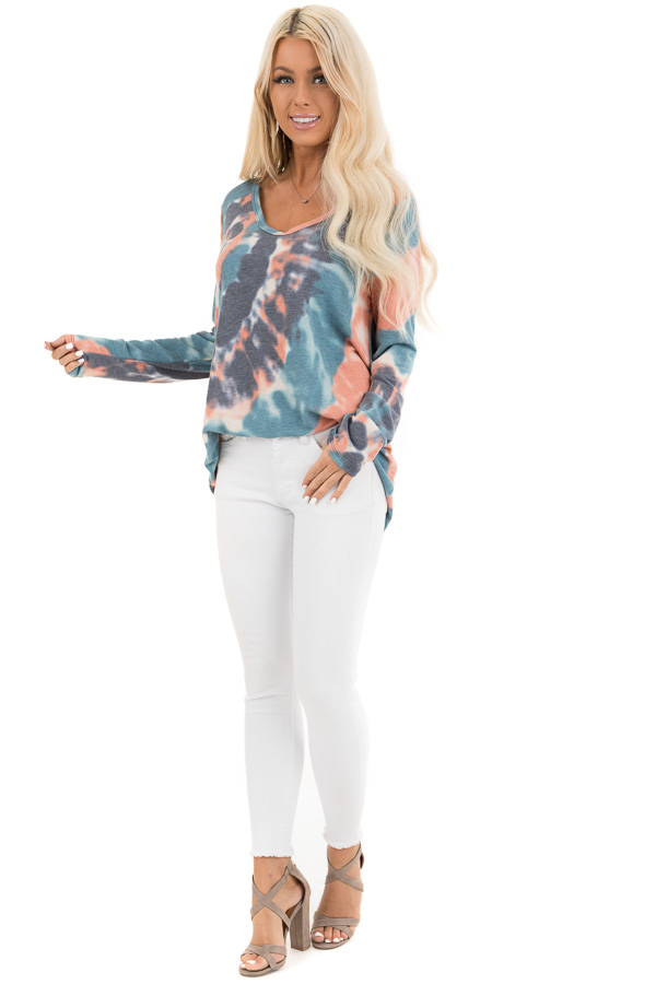 Teal Blue Multi Colored Tie Dye Long Sleeve Knit Top front full body