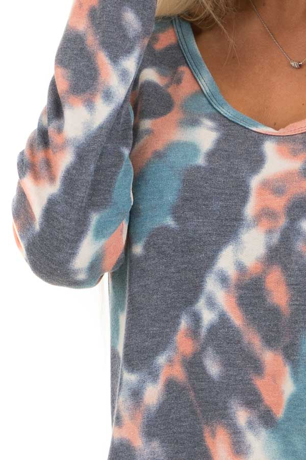 Teal Blue Multi Colored Tie Dye Long Sleeve Knit Top detail
