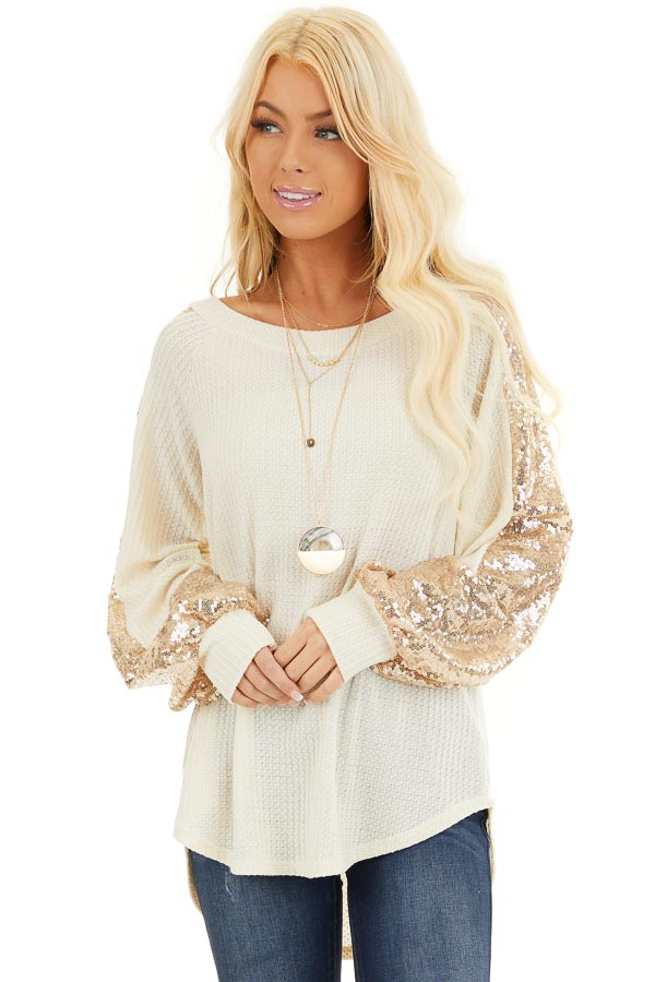 Cream Waffle Knit Long Sleeve Top with Gold Sequin Sleeves front close up
