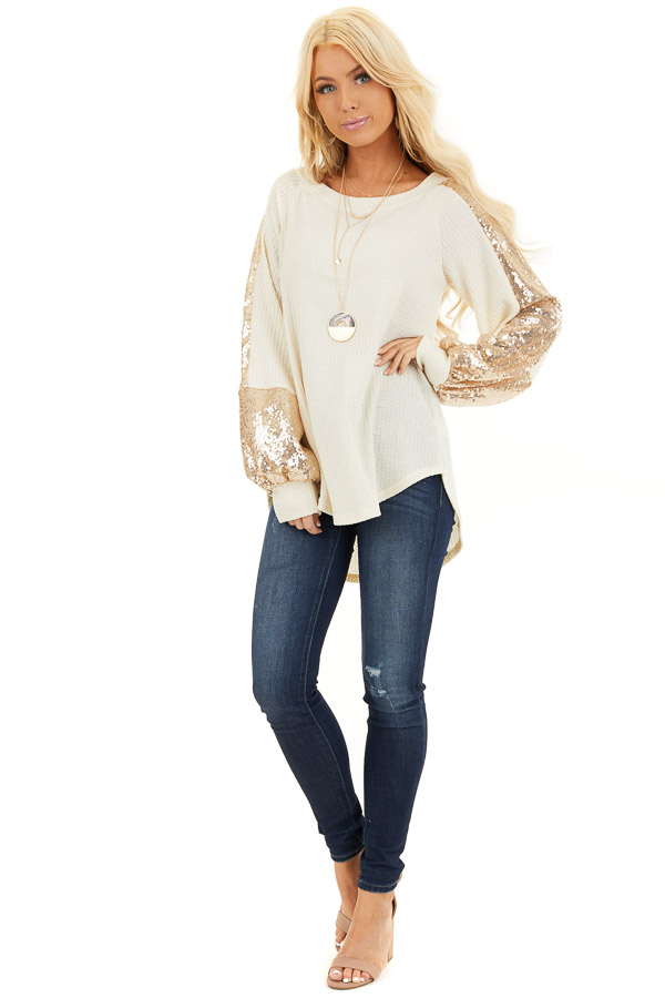 Cream Waffle Knit Long Sleeve Top with Gold Sequin Sleeves front full body