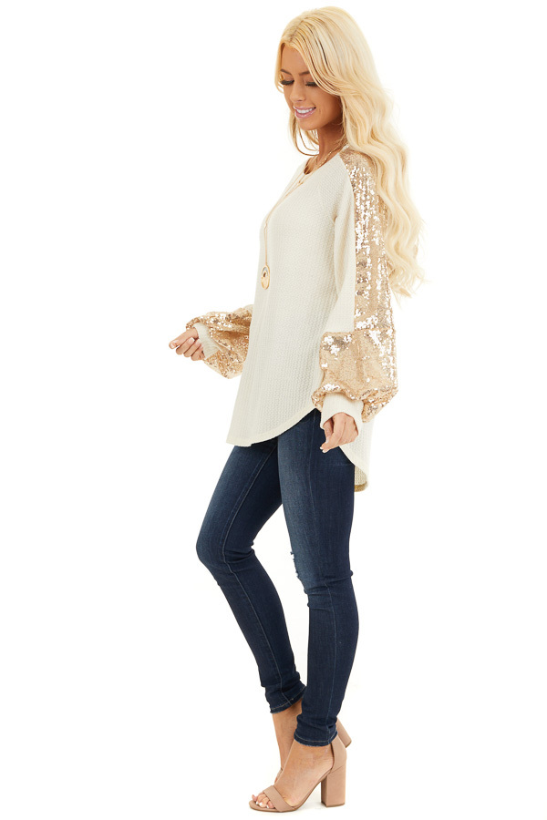 Cream Waffle Knit Long Sleeve Top with Gold Sequin Sleeves side full body