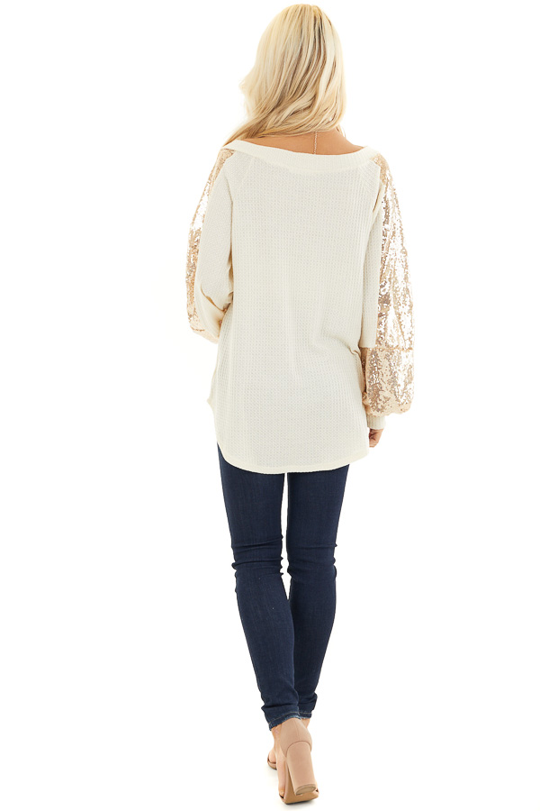 Cream Waffle Knit Long Sleeve Top with Gold Sequin Sleeves back full body