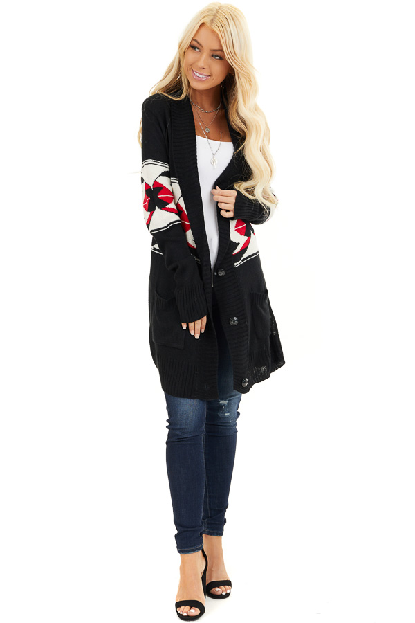 Black Aztec Print Button Up Knit Cardigan with Pockets front full body