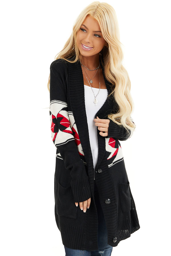 Black Aztec Print Button Up Knit Cardigan with Pockets front close up
