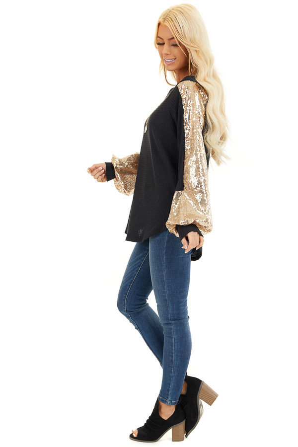 Black Waffle Knit Long Sleeve Top with Gold Sequin Sleeves side full body