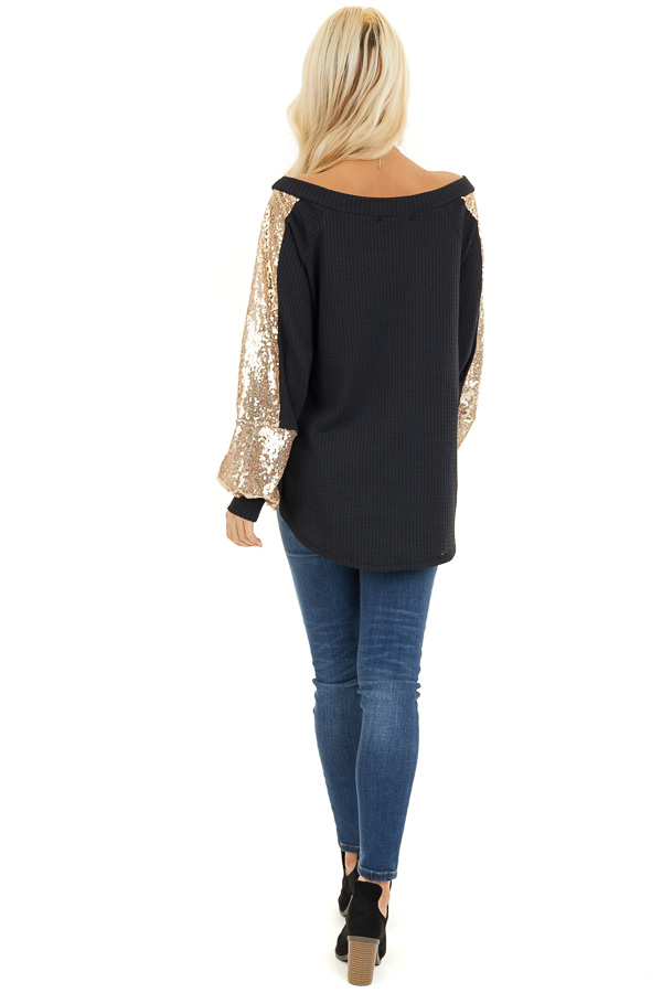 Black Waffle Knit Long Sleeve Top with Gold Sequin Sleeves back full body