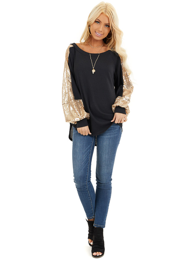 Black Waffle Knit Long Sleeve Top with Gold Sequin Sleeves front full body