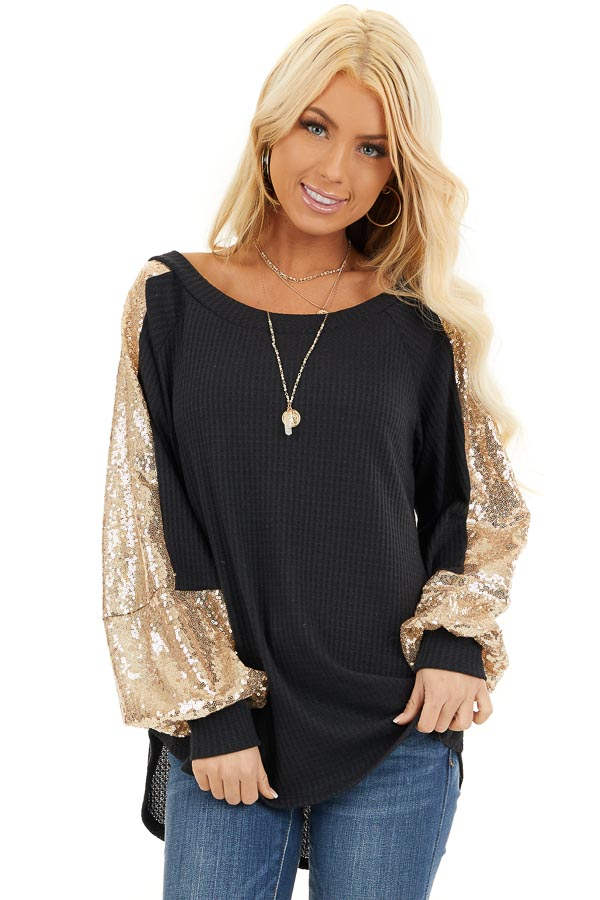 Black Waffle Knit Long Sleeve Top with Gold Sequin Sleeves front close up