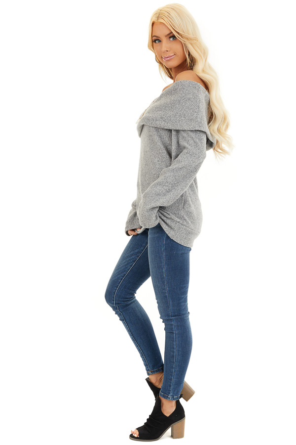 Cloud Grey Off Shoulder Long Sleeve Top with Overlay Detail side full body