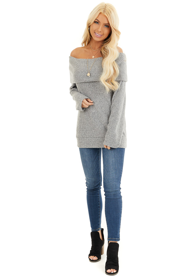 Cloud Grey Off Shoulder Long Sleeve Top with Overlay Detail front full body