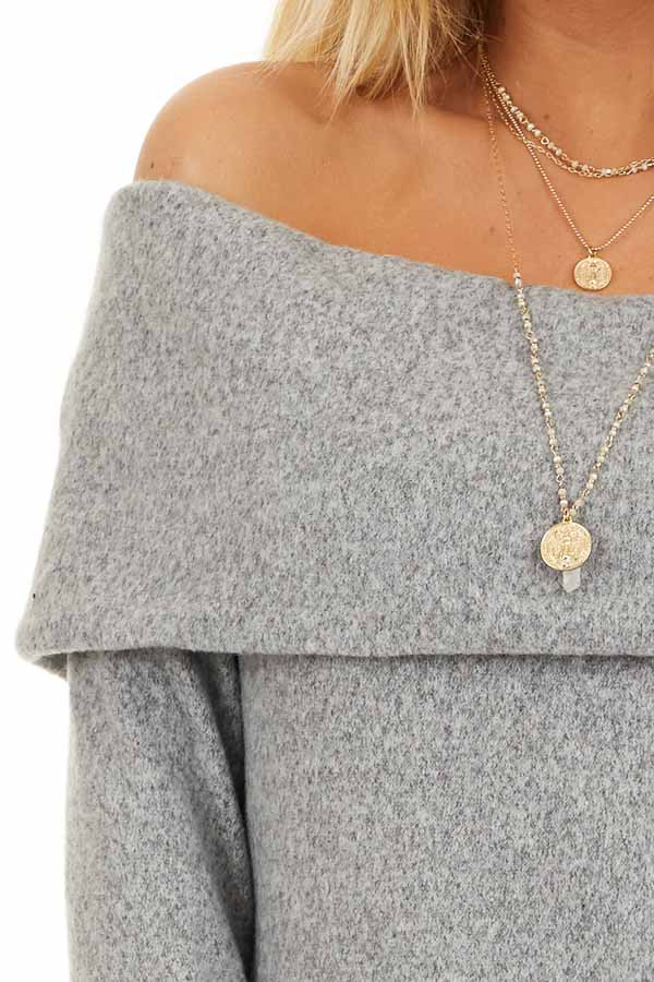 Cloud Grey Off Shoulder Long Sleeve Top with Overlay Detail detail