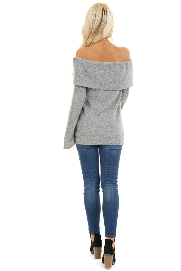 Cloud Grey Off Shoulder Long Sleeve Top with Overlay Detail back full body