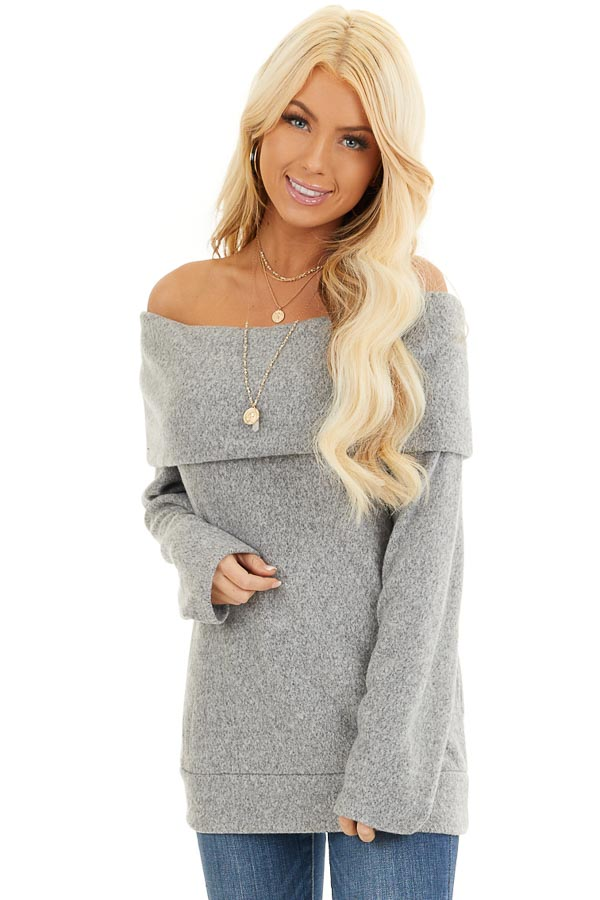Cloud Grey Off Shoulder Long Sleeve Top with Overlay Detail front close up