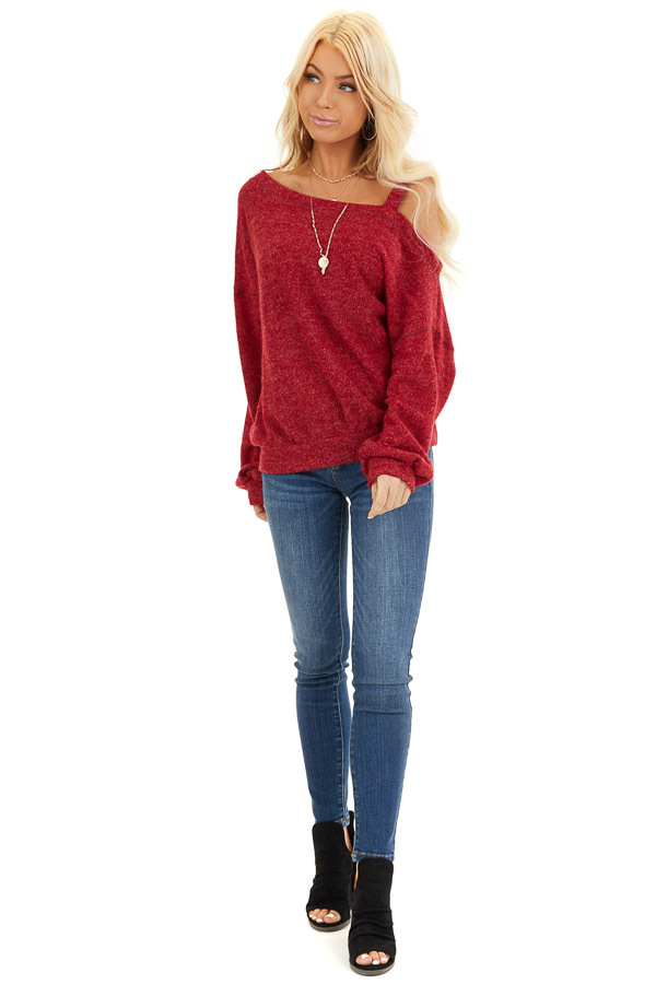 Cranberry Long Sleeve Knit Top with One Cold Shoulder front full body