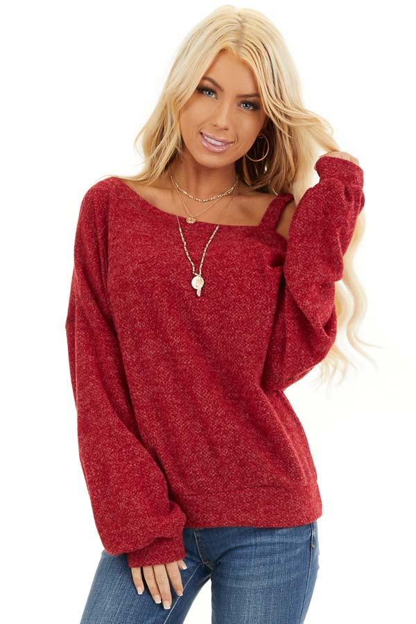 Cranberry Long Sleeve Knit Top with One Cold Shoulder front close up