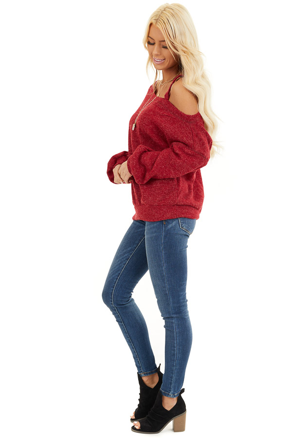 Cranberry Long Sleeve Knit Top with One Cold Shoulder side full body