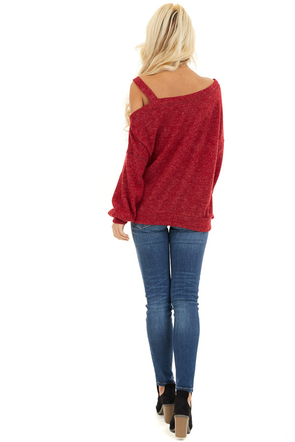 Cranberry Long Sleeve Knit Top with One Cold Shoulder back full body