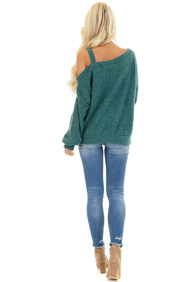 Jade Long Sleeve Knit Top with One Cold Shoulder back full body