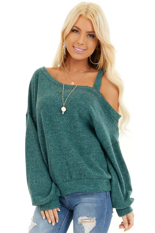 Jade Long Sleeve Knit Top with One Cold Shoulder front close up