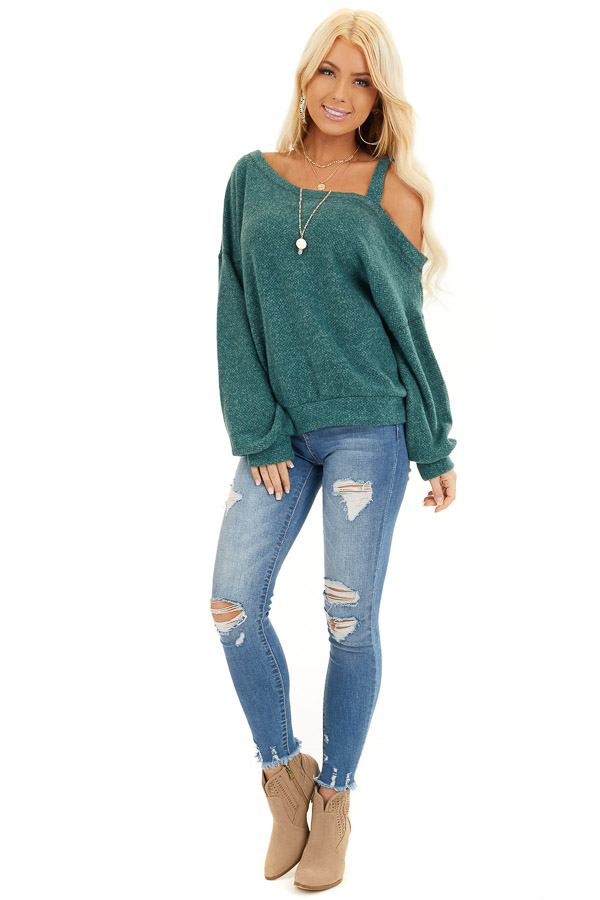 Jade Long Sleeve Knit Top with One Cold Shoulder front full body