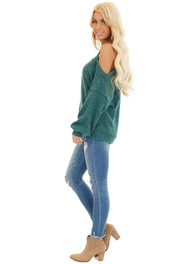 Jade Long Sleeve Knit Top with One Cold Shoulder side full body