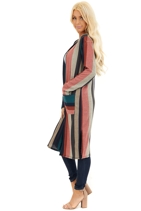 Forest Green Multicolor Striped Cardigan with Pockets side full body