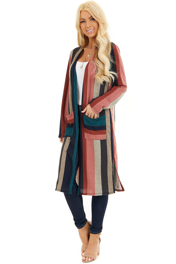 Forest Green Multicolor Striped Cardigan with Pockets front full body