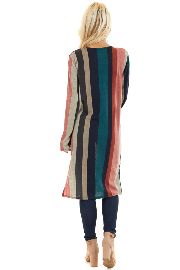 Forest Green Multicolor Striped Cardigan with Pockets back full body
