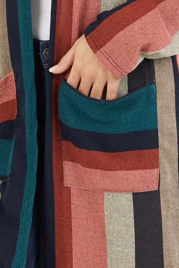 Forest Green Multicolor Striped Cardigan with Pockets detail