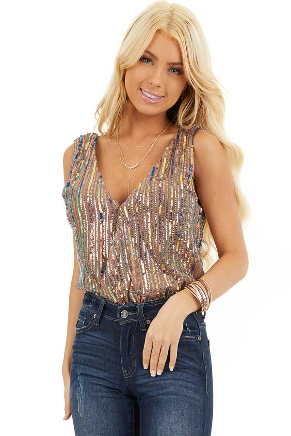 Cognac Sleeveless Surplice Bodysuit with Multicolor Sequins front close up