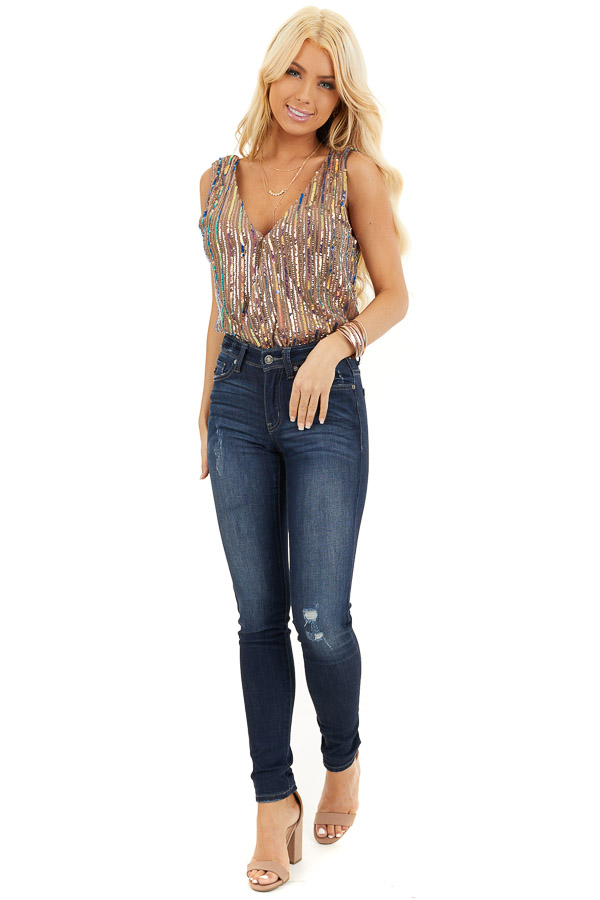 Cognac Sleeveless Surplice Bodysuit with Multicolor Sequins front full body