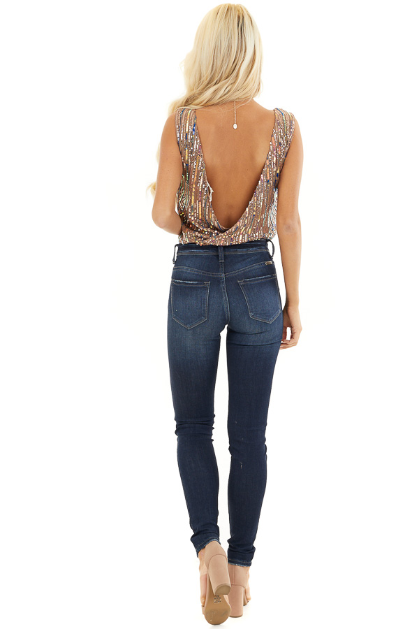 Cognac Sleeveless Surplice Bodysuit with Multicolor Sequins back full body