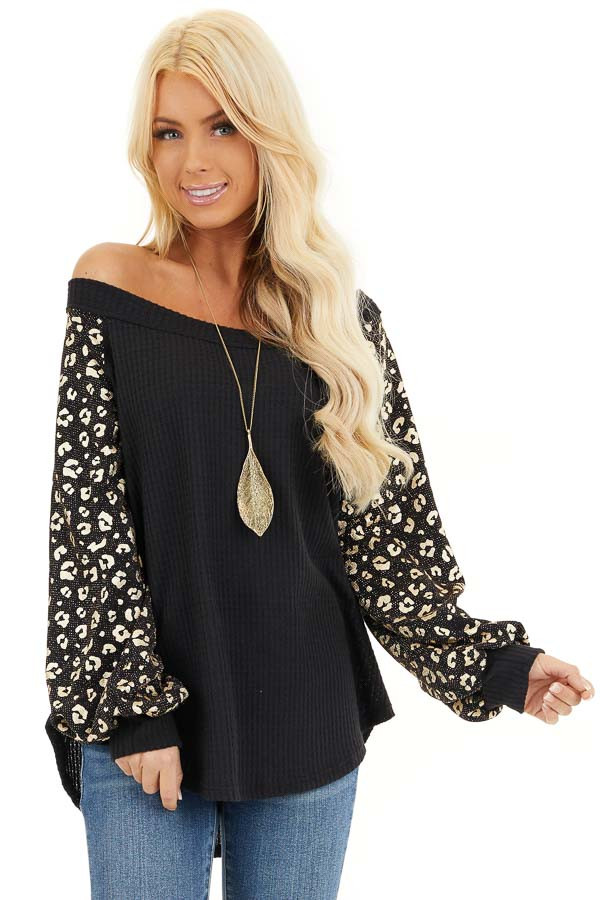Black and Gold Leopard Print Off Shoulder Waffle Knit Top front close up