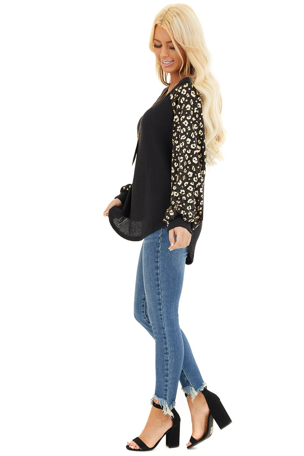 Black and Gold Leopard Print Off Shoulder Waffle Knit Top side full body